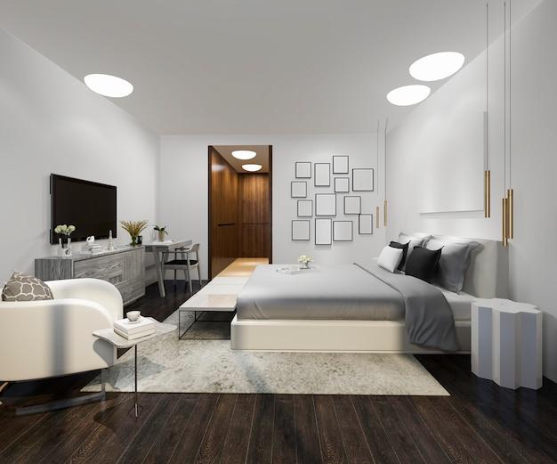 最小限のベッドルームと木製の美しいロフト