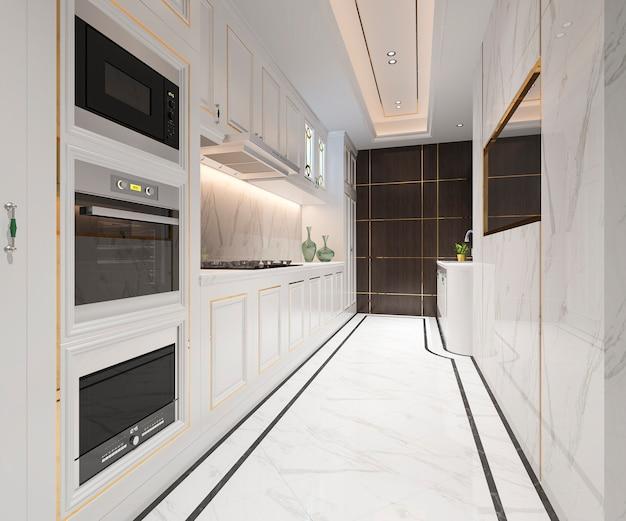 豪華なデザインの白い古典的なキッチン