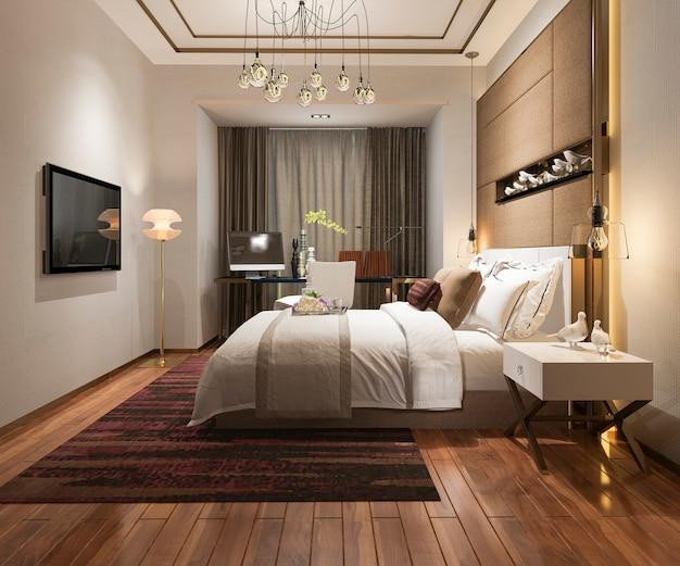 テレビ付きのホテルの美しい豪華なベッドルームスイート
