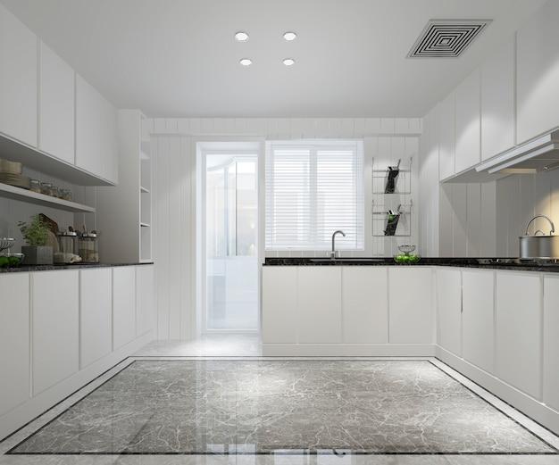 モダンなインテリアスタイルの白い最小限のキッチン
