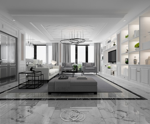 Белая современная классическая гостиная с мраморной плиткой и книжной полкой