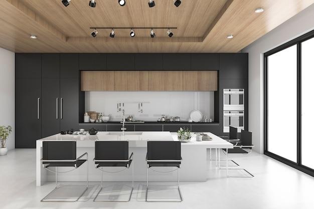 木製の天井と黒のキッチン