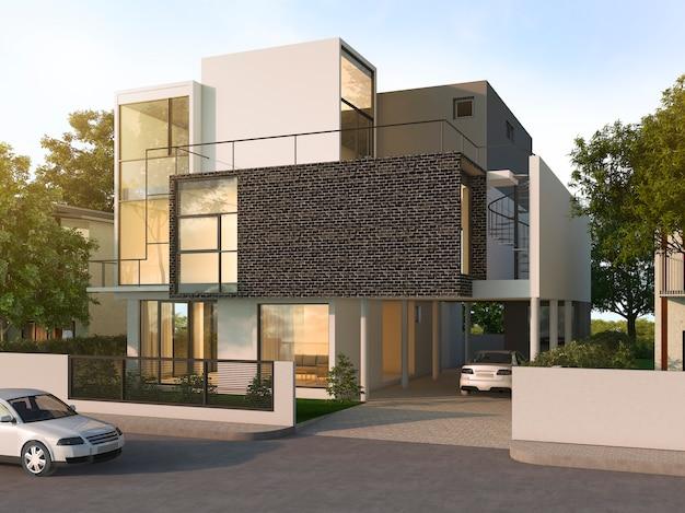 Красивый современный дизайн черный кирпичный дом возле парка и природы