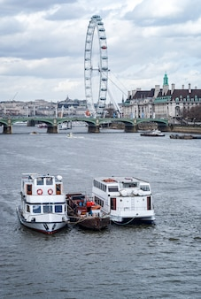 ロンドンとテムズ川の壮大なロンドンアイの眺め