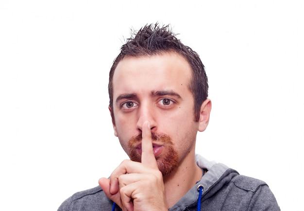 Человек показывает молчаливый знак