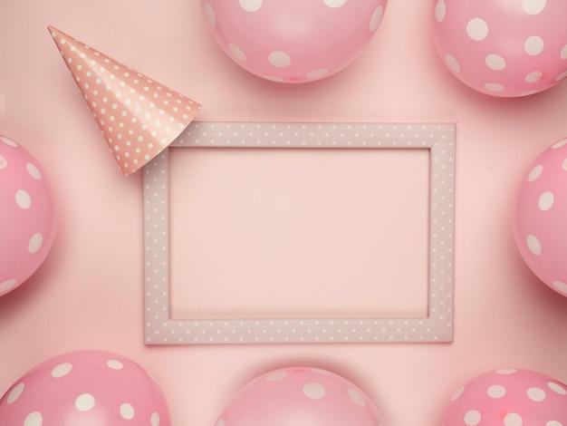 パーティーのための美しいピンクフレームの背景
