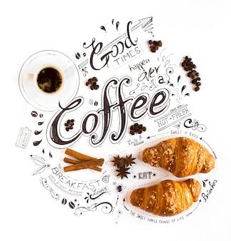 ビンテージの構図で古典的なフレーズと手描きのコーヒーをテーマにしたレタリングタイポグラフィ。