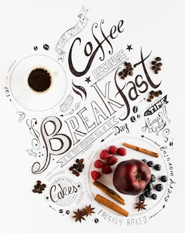 手描きの朝食レタリングタイポグラフィ