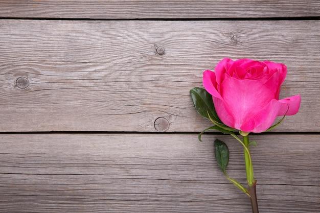 Одиночная красивая розовая роза на сером деревянном столе