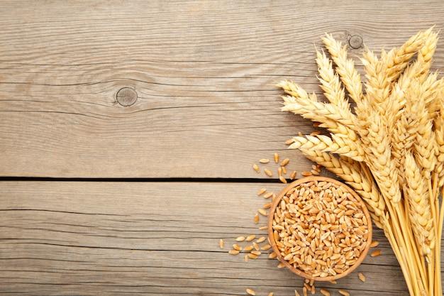 灰色の背景上にボウルに小麦と小麦の穂。トップビュー
