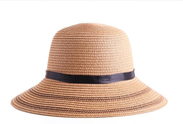 夏パナマ麦わら帽子白で分離