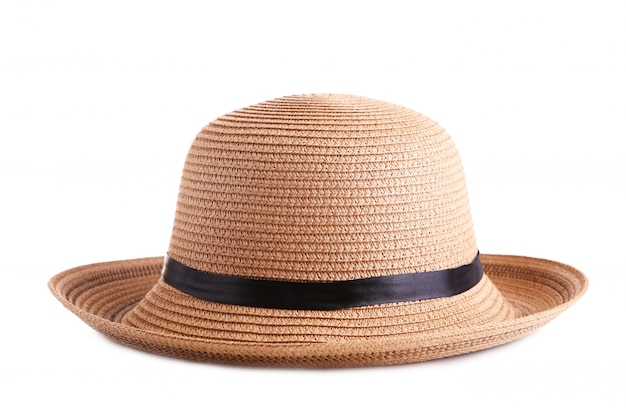 白で隔離される黒いリボンと夏パナマ麦わら帽子