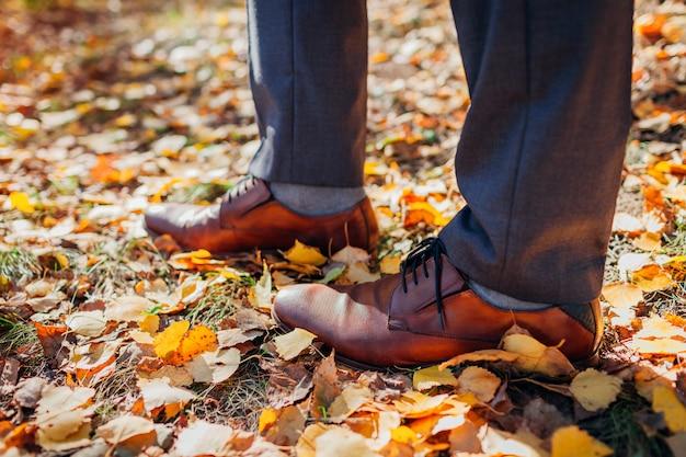 秋の公園で靴を着ているビジネスマン。茶色の革の古典的な靴。