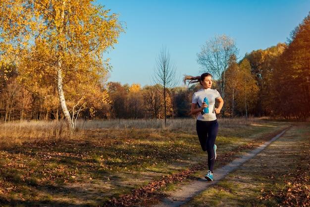 秋の公園でランナーのトレーニングと運動。日没で走っている女性。アクティブで健康的なライフスタイル