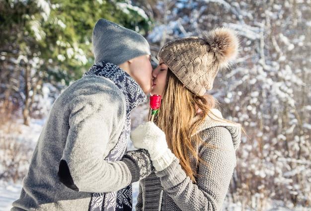ロリポップと恋にキスカップルの肖像画