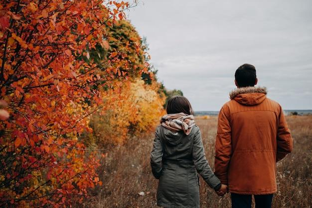 若いカップルはカラフルな木々の中で秋の森を歩く