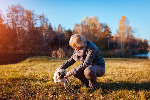 Гуляя собака мопса в парке осени рекой. счастливая женщина играет с домашним животным и с удовольствием с лучшим другом.