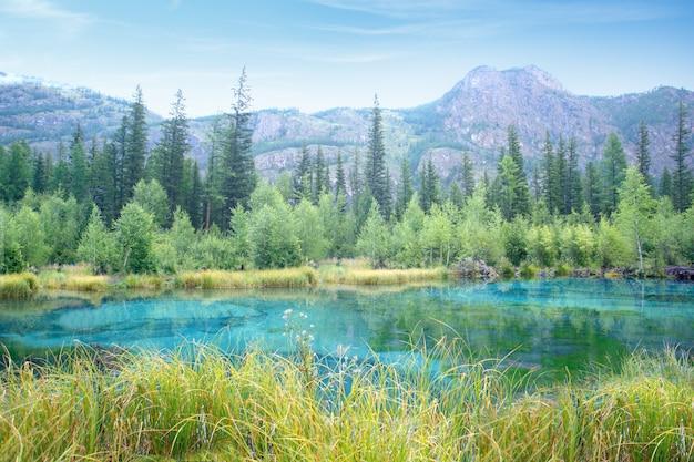 夏または秋の日の美しい湖と山の自然山のシーン。ロシア、シベリアのアルタイ共和国の国立公園