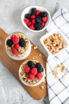 Греческий йогурт с домашней мюсли, ягодами, малиной и ежевикой