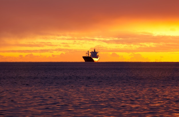 Корабль на море, триест