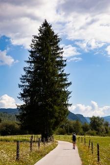 スロベニアの田舎でハイキングのバックパックを持つ若い女