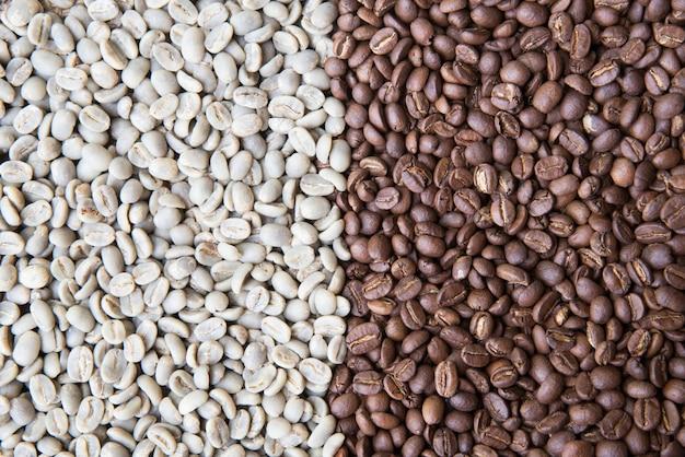 さまざまな種類のコーヒー豆の混合物。コーヒーの背景