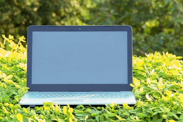 自然緑の芝生の庭でビジネスコンピューターラップトップノートブック白い空白の画面