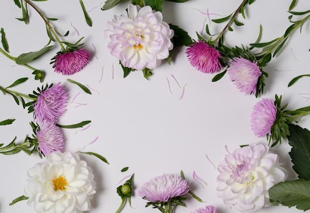 菊とダリアの花を持つ創造的な背景。花柄ボーダーフラットレイアウトのコンセプト
