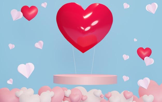 青い空と白い雲に浮かぶ紙のハートと豪華な表彰台。ピンクのギフトボックス、ピンクの風船とパステル調の背景に心。幸せなバレンタインデー。