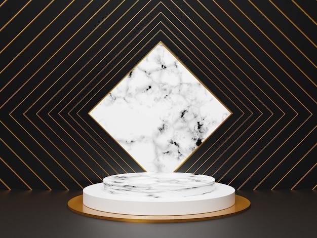 あなたのデザインのための光沢のある白い大理石の豪華な表彰台。ショー製品のパステルカラーのシーン。