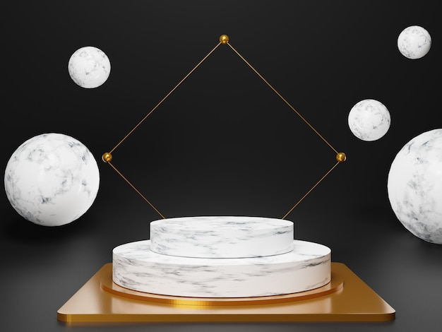 光沢のある白い大理石の豪華な表彰台