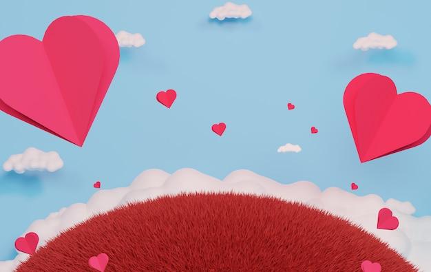 青い空と白い雲に浮かぶ紙のハートと豪華な表彰台。ピンクのギフトボックス、ピンクのバルーン、パステル調の背景にハート。幸せなバレンタインデー。