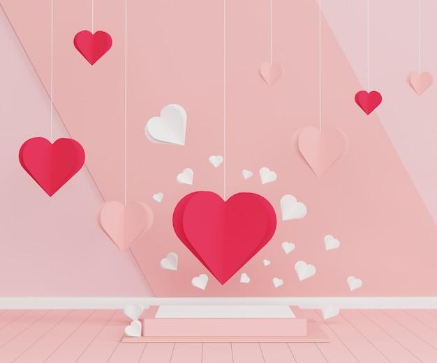 あなたのデザインのための光沢のある豪華な表彰台。ピンクのギフトボックス、テディベア、パステル調の背景にピンクのバルーン。幸せなバレンタインデー。