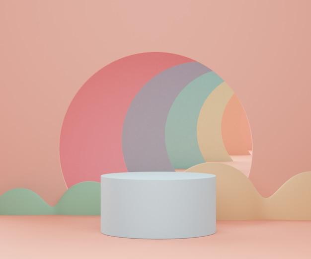 製品のプレゼンテーションのための幾何学的形状を持つ最小限の空の表彰台シーンのレンダリング