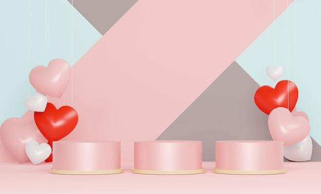 光沢のある高級表彰台ピンクのギフトボックス、ピンクの風船、パステル調の背景に心。幸せなバレンタインデー。
