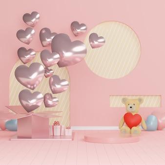 光沢のある高級表彰台ピンクギフトボックス、テディベア、パステル調の背景にピンクの風船。幸せなバレンタインデー。