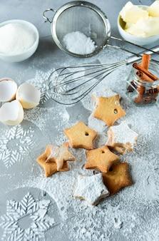 Рождественское печенье в форме звезд
