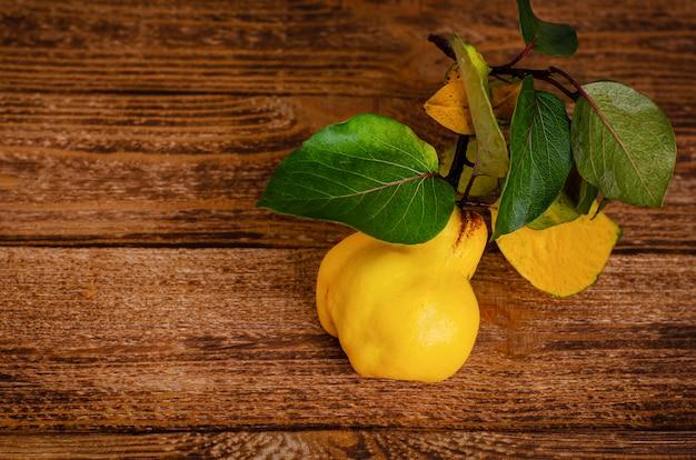 木製の素朴な背景に熟した黄色のカリン。コピースペース。オーガニックの季節のフルーツ。