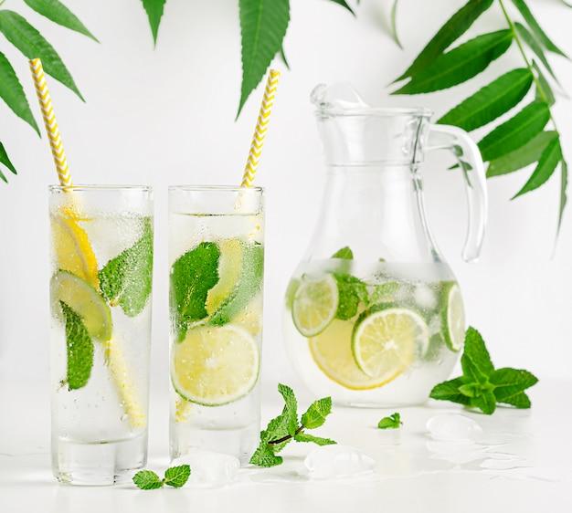 柑橘系の果物のアイスレモネード。トニックとミントのさわやかなドリンク。健康的な飲酒
