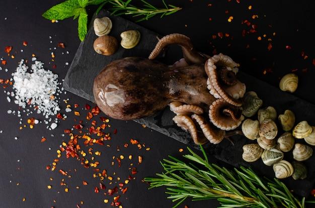 Свежий сырой осьминог с моллюсками и ингредиенты для приготовления пищи на черном грифельную доску на темном фоне