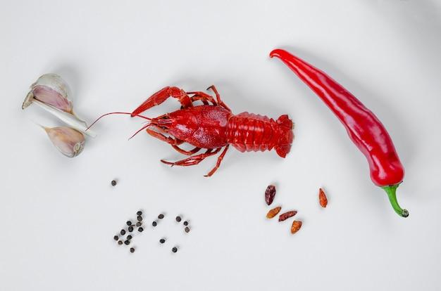 赤唐辛子とニンニクで調理したザリガニまたはザリガニ。食品ミニマリズムのコンセプト。