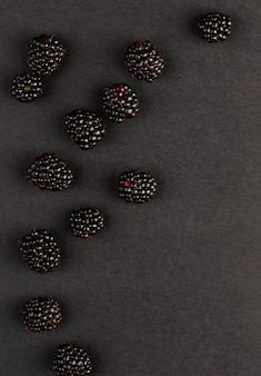 黒い背景にブラックベリー。コピースペース、垂直。