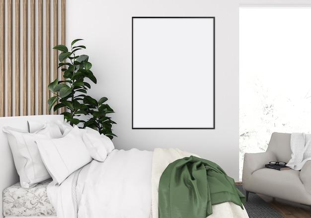 居心地の良いベッドルーム、垂直フレームモックアップ、アートワークディスプレイ