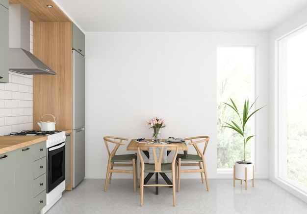 スカンジナビアのキッチン、空白の壁、アートワークの表示