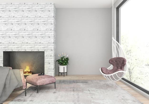 スカンジナビアのリビングルーム、空白の壁