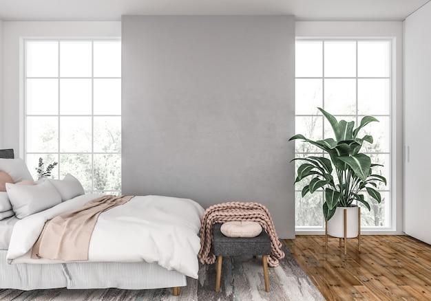 スカンジナビアの寝室、空白の壁
