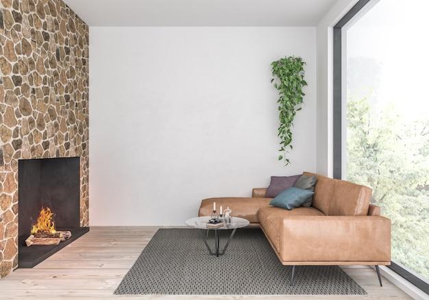 空白の壁とモダンなリビングルーム