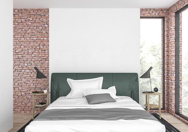 空白の壁とモダンなベッドルーム