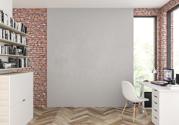 空白の壁とスカンジナビアのインテリア