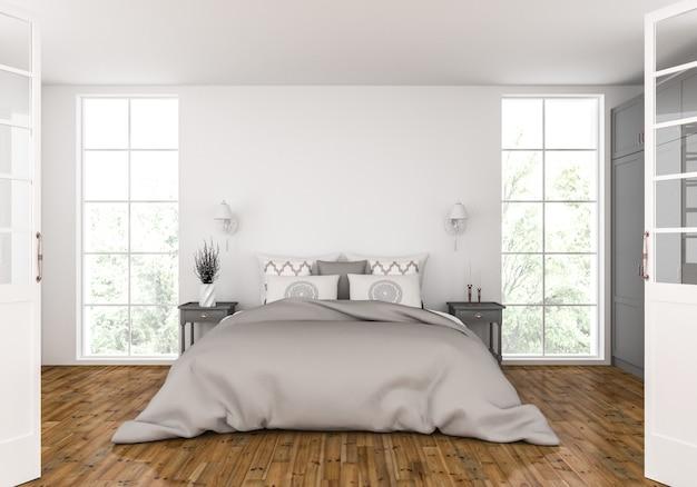 Спальня с пустым макетом стены